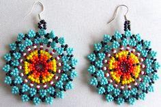 Mexican Huichol Beaded flower earrrings by Aramara on Etsy, $7.00