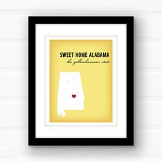 Everyone knows the words to this Southern classic by Lynyrd Skynyrd. If you follow it up with Roll Tide Roll or War Damn Eagle, then youre definitely a proud Alabama resident!  _________________________________________________________ GIMME ALL THE DETAILS:  —Print measures 11x14 and has a small white border all around for easy framing!  Please let me know the following: 1. Background Color — Photo 4 shows your color choices 2. City and icon choice — Photo 5 shows your icon choices 3. If…