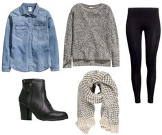 Chambray shirt, chunky grey sweater, liquid black leggings, black ankle boots, knit scarf   Cozy Lazy-Day Looks