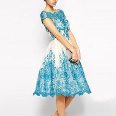 New Arrivals blue lace low-waist round neck dress Vestido Vestido De Renda Defeisita summer party lace evening dress women's dress