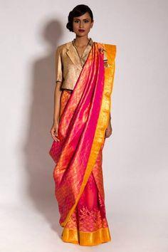 Pink silk sari by Neeta Lulla. Love the blousewith a sari Indian Attire, Indian Ethnic Wear, Traditional Sarees, Traditional Dresses, Indian Dresses, Indian Outfits, Pakistani Dresses, Modern Saree, Saree Blouse Designs