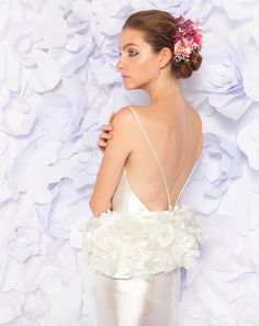 Silk flower garden peplum on backless silk sibylline column gown by Lesley de Freitas