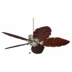 """Add a tropical touch to your lanai or living room with this eye-catching ceiling fan, showcasing hand-carved wood blades and an antique pewter finish.   Product: Ceiling fanConstruction Material: Die-cast zinc and steelColor: Antique pewter and dark cherryFeatures:  Hand-carved leaf design52"""" Blade span with 20° blade pitchLight fixture adaptable6"""" Downrod included Dimensions: 12.5"""" H x 52"""" DiameterAssembly: Assembly required - hardware included"""