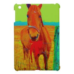 Green sky , red bow Horse : add name Cover For The iPad Mini