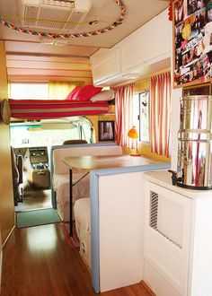 Pay attention to the genius 'hoop' storage. very clever and could be applied to other light weight things. My favorite RV decorator's ever. check out her blog. http://walkslowlylivewildly.com/
