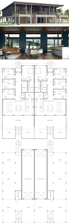 Duplex House Plan Duplex House Plan Image Size: 900 x 2892 Source Duplex House Plans, Dream House Plans, House Floor Plans, Building Design, Building A House, England Houses, Home Styles Exterior, My Ideal Home, Tropical Houses