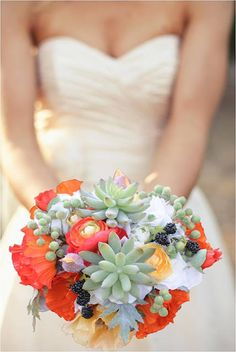 different colors for me, but neat idea to put succulents...you can plant them after the wedding! orange green pink blue white red purple bridal shower baby bouquet bridal gown dress wedding desert outdoor decor wedding stand cake stand wedding cake favors decor bridal bouquet wedding bouquet flowers