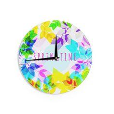 Kess InHouse Sreetama Ray 'Seasons Springtime' Rainbow Leaves Wall Clock