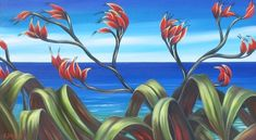 New Zealand Landscape Paintings, Shorelines & Pohutukawas - Art Of This World Abstract Landscape, Landscape Paintings, Flower Paintings, Flax Flowers, New Zealand Landscape, New Zealand Art, Nz Art, Maori Art, Jpg