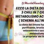 LA DIETA DEL LIMONE, 3 CHILI IN 7 GIORNI E METABOLISMO ACCELERATO ( SCHEMA)