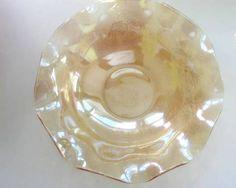 """Vintage #JeannetteGlass Flora Gold Ruffled Bowl Floral Embossed 11"""" Bowl"""