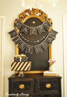 Chalkboard Happy Birthday Banner : Creatively Living