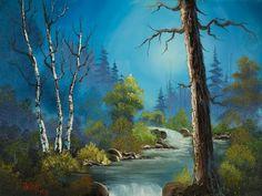 bob ross moonlight stream paintings