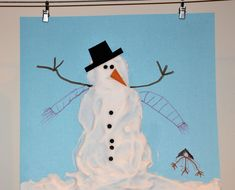 Shaving Cream Snowman- fun hands-on art project idea for winter!