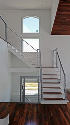 Cable stair railing - Square stainless steel posts and handrail with cable infill by Cable Railing Direct. Steel Stairs, Steel Railing, Metal Railings, Staircase Railings, Curved Staircase, Banisters, Painted Banister, Banister Ideas, Staircase Ideas