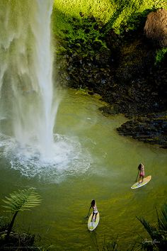 Stand up paddle boarding so close to waterfall. Great!