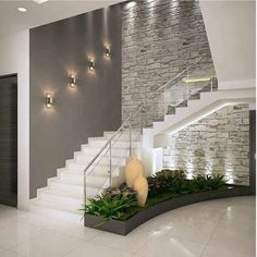 Inspire-se nestas fantásticas escadas para construir a sua!Corredores e halls de entrada por ACE INTERIORS Interior Design Your Home, Home Stairs Design, Modern House Design, Stair Design, Interior Ideas, Brick Interior, Hall Interior, Modern Stairs Design, Apartment Interior