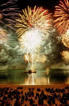 14th July fireworks over the water at Benodet.. .bastille day. ah, to be in france.