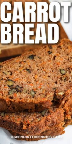 This Carrot Bread recipe is a delicious mix of sweet & savory! Give to the kids as an after-school snack, or enjoy in the morning with a cup of coffee! #spendwithpennies #carrotbread #recipe #breakfast #dessert #snack #homemade #healthy #easy #best Carrot Cake Bread, Fruit Bread, Bread Cake, Dessert Bread, Breakfast Dessert, Carrot Loaf, Quick Bread Recipes, Carrot Recipes, Banana Bread Recipes