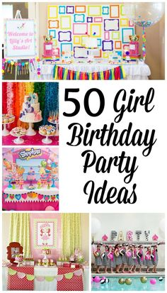 50 Birthday Party Ideas For Girls. Throw the perfect Girl Birthday Party with all of these great ideas! Perfect for any girl in your life from 1 to - Girl Party Ideas - The Best Girl Birthday Parties 50th Birthday Party Decorations, Birthday Party Games For Kids, Girls Party, First Birthday Parties, Birthday Ideas, Kid Parties, Birthday Crafts, Invitation, Party Activities
