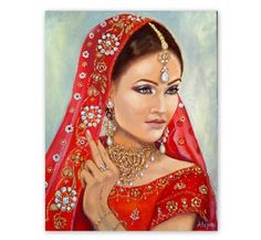 Portrait of a beautiful Indian woman - Original oil painting on canvas--Art&Collectibles by ArtSunday on Etsy Oil Painting On Canvas, Canvas Art, Woman Painting, Painting Process, Cool Artwork, Indian Beauty, Amazing Art, Portrait Paintings, Portraits