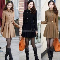 Women Woolen Winter Trench Double Button Slim Coat Long Outwear