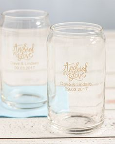 Celebrate your nautical wedding with the perfect personalized can glasses! | 2017 Summer Wedding Lookbook