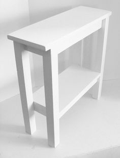 Narrow End Table, Entryway Console Table, Chair Side Table, White End Table,  Bedside Table Cottage White Table, Wood Table, Custom