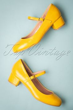 6925b4b6af24 60s Mary Jane Block Heel Pumps in Yellow