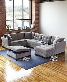 no Elliot Fabric Sectional Living Room Furniture Collection - Sectional Sofas - Furniture - Macy's Fabric Sectional, Living Room Sectional, New Living Room, Living Room Interior, Home And Living, Living Room Decor, Sectional Sofas, Cozy Living, Small Living