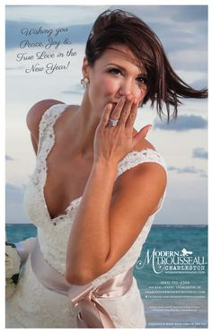 skirt! magazine - January 2013 - Modern Trousseau Charleston ad featuring real bride, Brooke, wearing the 'Lauren' gown.