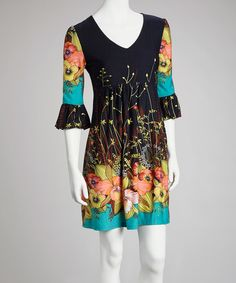 Take a look at this Black & Coral Bell-Sleeve Dress on zulily today!