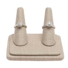 Watercress Linen Pretty Fingers™ Two-Ring Display Jewelry Displays, Ring Displays, Fabric Display, Rio Grande Jewelry, Bold Jewelry, Subtle Textures, Beige Color, Light Beige, Jewelry Making Supplies