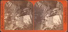 1872 Bierstadt Stereoview - Niagara Falls Cavern (?) W/Ladder