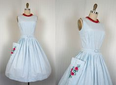 Vintage 50s Blue White Passementerie Flowers Full Skirt Dress