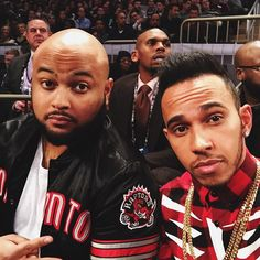 """#latergram Court-side with my brother @spinzbeatsinc last night at the NBA All-Star Game!!! #blessed #TeamLH"""