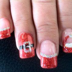 Xmas nail art on gel nails - Christmas Gel Nails, Xmas Nail Art, Christmas Nail Art Designs, Holiday Nails, Nail Tip Designs, Simple Nail Designs, Get Nails, Hair And Nails, French Nails