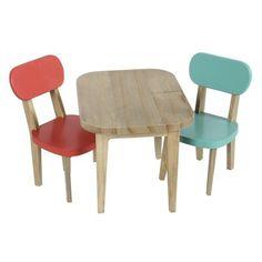 Ensemble Table et 2 Chaises Turquoise et Corail (Mini)