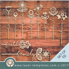 10 WordFlowers Template for flower with message laser cut pattern. Buy this template, design, pattern. This cut pa Laser Cutter Ideas, Laser Cutter Projects, Cnc Projects, Trotec Laser, Laser Cut Wood, Laser Cutting, Articles En Bois, 3d Laser Printer, Gravure Laser