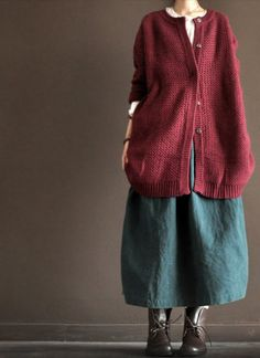 Wool Sweater/red  long  sleeve coat by clothestalking on Etsy, $59.00