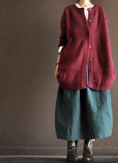 Wool Sweater/red  long  sleeve coat.