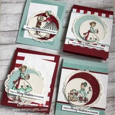 Stampinup!'s Christmas in the making stamp set is perfect for a vintage look when combined with the colour combo cherry cobbler and pool party.