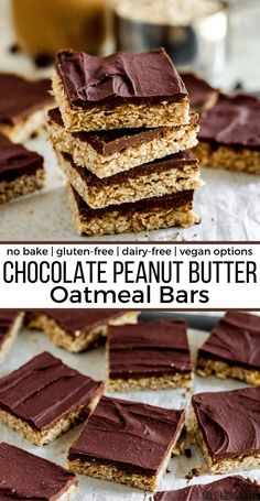 This no bake Chocolate Peanut Butter Oatmeal Bar recipe is easy and delicious with a healthy take on classic chocolate peanut butter flavors. Filled with healthy oats, lightly sweetened with maple syrup, and made with coconut milk to make them extra creamy. These bars are gluten-free, and easily dairy-free and vegan. No Bake Oatmeal Bars, Peanut Butter Oatmeal Bars, Chunky Peanut Butter, Chocolate Peanut Butter, Easy To Make Desserts, No Bake Desserts, Vegan Desserts, Delicious Desserts, Best Chocolate Desserts