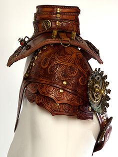 "steampunktendencies: ""Handcrafted Leather Steampunk Gorget Collar """