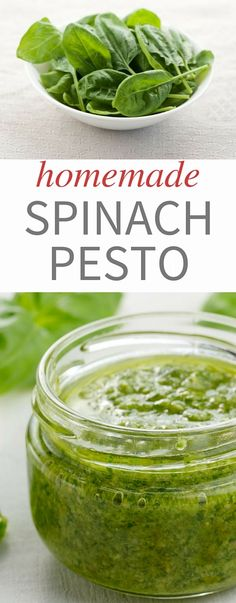 Recipe for homemade spinach pesto. It is delicious, easy to make, and a great way to use up spinach! Don't be afraid to try this one!
