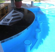 Pool Bar Ideas : Pool With Swim Up Bar. Pool with swim up bar. Pool Side Bar, Pool Bar, Epic Pools, Cool Pools, Oasis Pool, Dipping Pool, Pool Water Features, Swim Up Bar, Pool Service