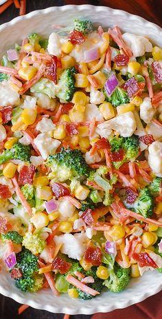 Creamy Broccoli Cauliflower Corn Bacon Salad with Sliced. Creamy Broccoli Cauliflower Corn Bacon Salad with Sliced Carrots Diced Red Onions and shredded Sharp Cheddar Cheese. Salad Bar, Soup And Salad, Broccoli Cauliflower Salad, Keto Cauliflower, Broccoli Salad With Bacon, Broccoli Pasta Salads, Spinach Salads, Corn Salads, Fruit Salads