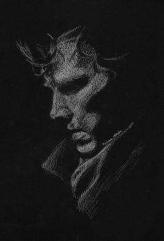 Colored Pencil Artwork, Color Pencil Art, Pencil Art Drawings, Art Drawings Sketches, Sherlock Drawing, Sherlock Wallpaper, Dark Red Wallpaper, Black Paper Drawing, Pen Art