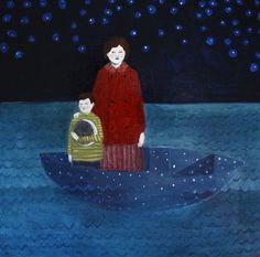 """""""they drifted through the sea in a boat made of stars"""" - oil painting by Amanda Blake"""