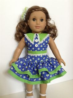 American Girl 18-inch Doll Clothes - Ruffled Daisy Dress in Blue/Lime Green & Hair Flower